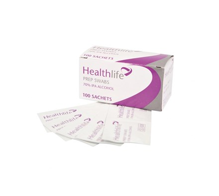 PRE-INJECTION WIPE (HEALTHLIFE) 70% ISOPROPYL ALCOHOL X 100