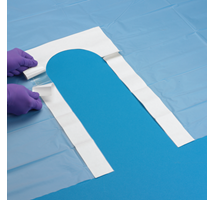 DRAPE U SHAPE SMALL50X75CM WITH ADHESIVE STERILE W/P BLUE X1