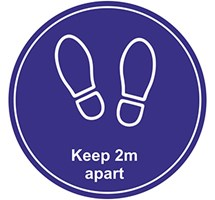 BLUE FLOOR STICKER / MARKER KEEP 2M APART CIRCULAR SOCIAL DISTANCING